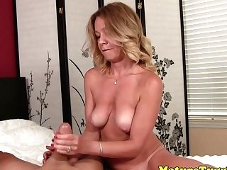 Matures Cougar Jerking Point Of View Man-meat