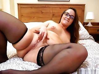 Curvy Mummy In Sheer Black Stockings