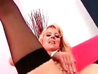 Blonde Cougar In Black Nylons Fuck Stick Fucks Her Fuckbox