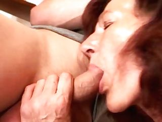 Old Bitch Is Banged By Two Youthful Dudes