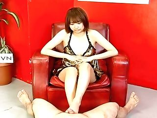 Horn-mad Brief Haired Japanese Lady Provides Dude With A Footjob