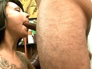 Horny Tattooed Mom Gives Impatient Oral Job To One Youthfull Dude