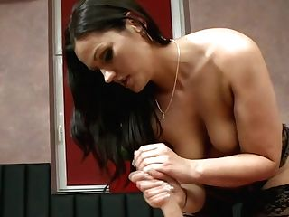 Big-titted Black-haired Sexpot Rubdown Dude's Assets And Strokes Off His Stiffy