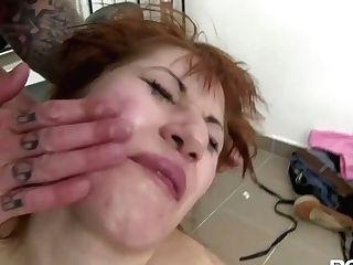 Lusty Crimson Haired Tramp Gets Her Vagina Fingerfucked Hard By Crazy Tattooed Weirdo