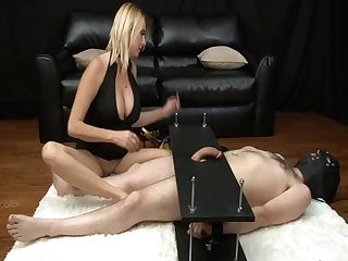 Mean Cougar Gives Brutal Female Domination Hand Jobs To Hard-on In Restrain Bondage