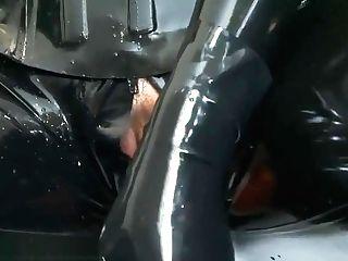 Lesbos Black Spandex Catsuit In Bathroom V