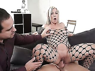 Harlot In Fishnet Nikyta Fucked Hard In Front Of Her Hotwife Hubby