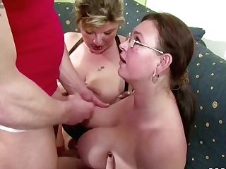 Two German Big Tit Mummies Suprise His Spouse With 3some