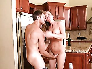 Nasty Housewife Violet Is Having Crazy Fuckfest On The Kitchen Table