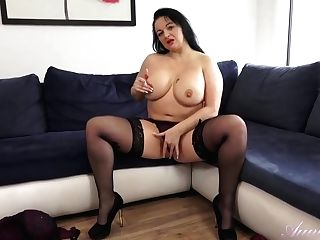 Chubby Sofa Hot Mummy Poon Caressing Solo
