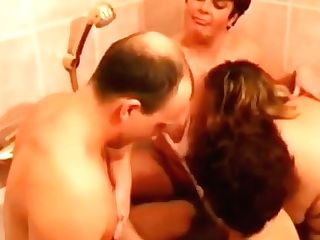 Three Lezzy Matures In The Bath With Lucky Stud